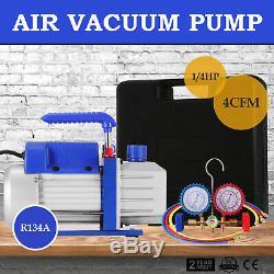 Vevor A / C Manifold Gauge Set R134a R410a R22 Avec 3 Cfm 1 / 4hp Air De La Pompe À Vide