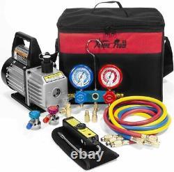 Xtremepowerus Premium 4cfm Air Vacuum Pump Hvac A/c Réfrigération Kit Ac Gauge